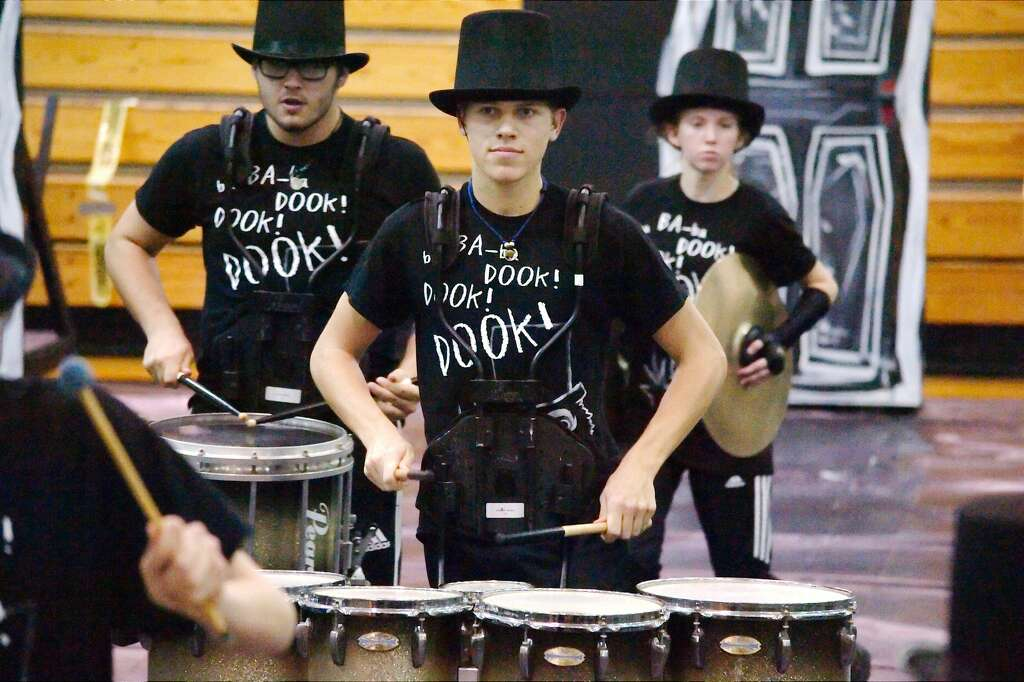 Members of  the Pearland percussion section perform during the TCGC indoor drumline competition at Pasadena Memorial High School Saturday, Feb 10. Photo: Kirk Sides/Houston Chronicle
