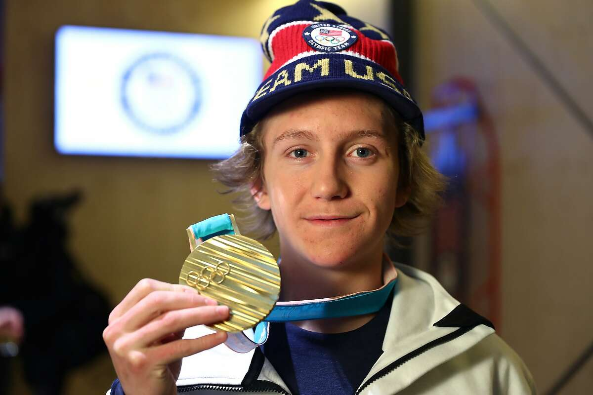 U.S. Olympian Red Gerard poses with his Gold Medal at the USA House at the PyeongChang 2018 Winter Olympic Games on February 11, 2018 in Pyeongchang-gun, South Korea. (Photo by Joe Scarnici/Getty Images for USOC)