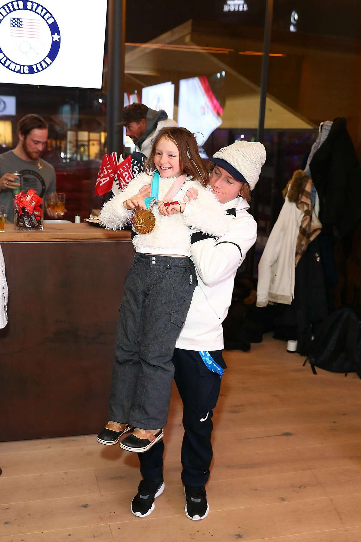 U.S. Olympian Red Gerard greets his family to show them his Gold Medal at the USA House at the PyeongChang 2018 Winter Olympic Games on February 11, 2018 in Pyeongchang-gun, South Korea. (Photo by Joe Scarnici/Getty Images for USOC)