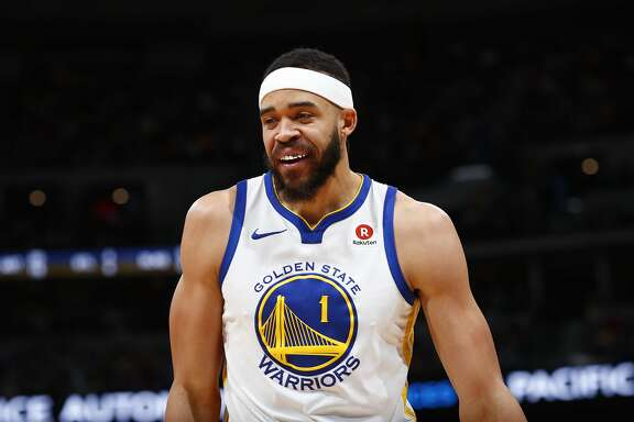 Golden State Warriors center JaVale McGee (1) in the second half of an NBA basketball game Saturday, Feb. 3, 2018, in Denver. The Nuggets won 115-108. (AP Photo/David Zalubowski)