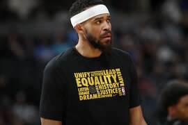 Golden State Warriors center JaVale McGee (1) in the first half of an NBA basketball game Saturday, Feb. 3, 2018, in Denver. (AP Photo/David Zalubowski)