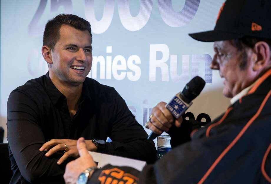 San Francisco Giants infielder Joe Panik speaks to reporters during media availability ahead of the San Francisco Giants FanFest at AT&T Park Friday, Feb. 9, 2018 in San Francisco, Calif. Photo: Jessica Christian / The Chronicle
