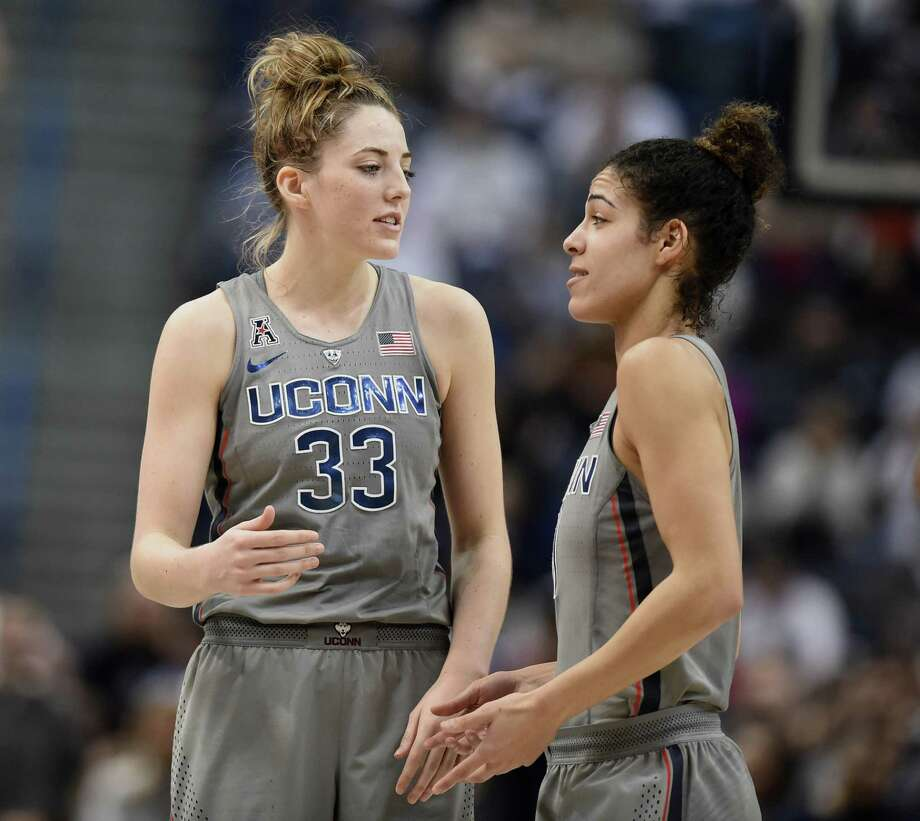UConn's Katie Lou Samuelson, left, and Kia Nurse are No. 1 and 2, respectively, among NCAA Division I women's basketball players in 3-point percentage. Photo: Jessica Hill / Associated Press / AP2018