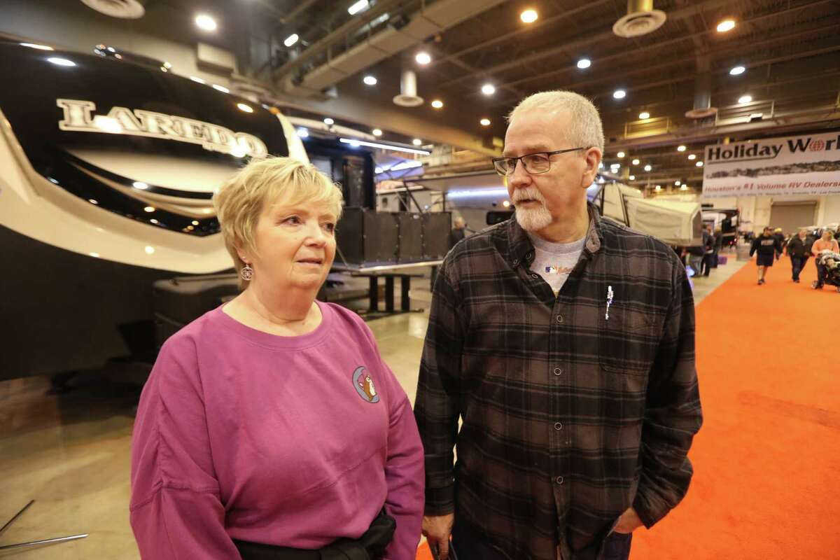 Alaina and Pete Kurz explain how difficult it is living in a small RV since Hurricane Harvey Sunday, Feb. 11, 2018, in Houston. The pair are in the market for a new RV at the Houston RV Show to upgrade after living in one since Harvey. The Houston RV Show is now the largest in Texas with over 600 units on display. This includes Motorhomes, Travel Trailers, Tent Campers, Fifth Wheels, and Van Conversions. Recreational Vehicle related vendors representing campgrounds, resorts, parks and RV supplies.