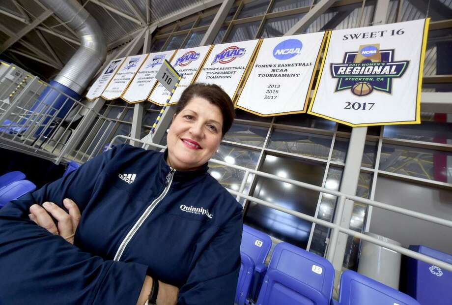Quinnipiac women's basketball head coach Tricia Fabbri reached 400 wins on Sunday with an 83-72 victory over Siena. Photo: Arnold Gold / Hearst Connecticut Media File Photo / New Haven Register
