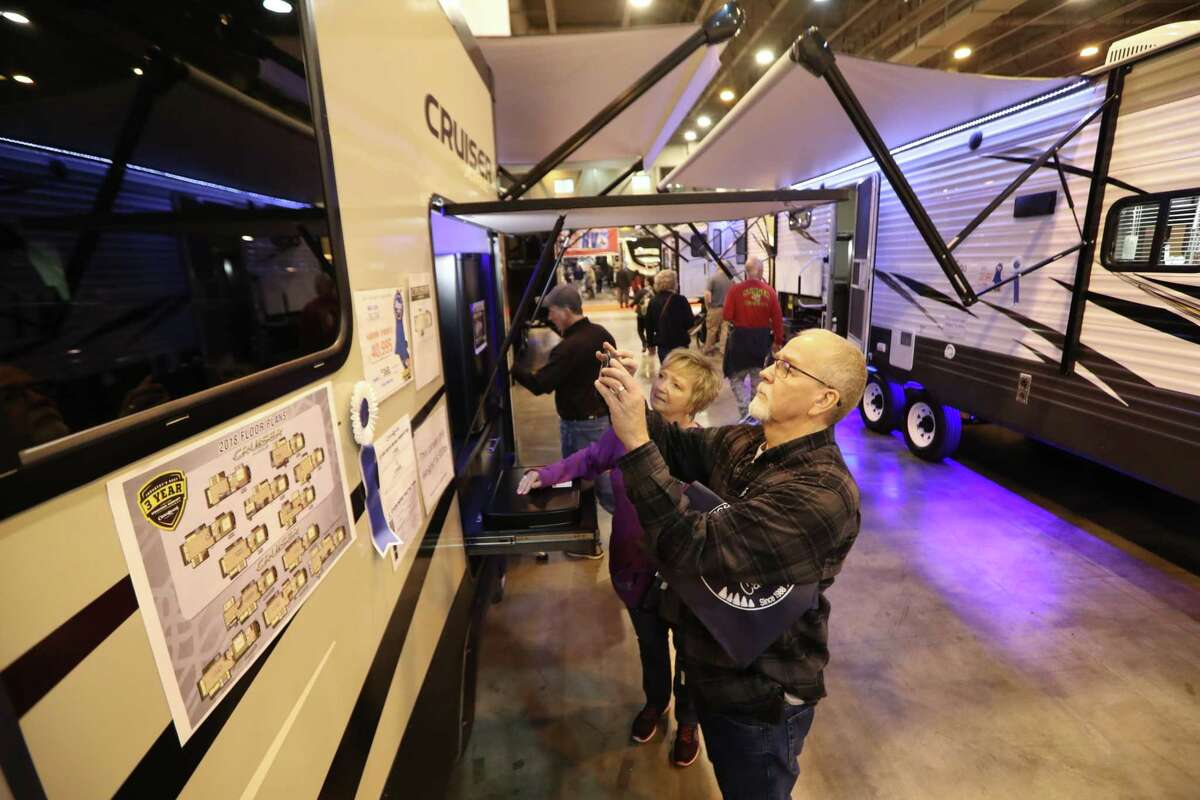 Alaina and Pete Kurz are in the market for a new RV at the Houston RV Show Sunday, Feb. 11, 2018, in Houston to upgrade after living in one since Harvey. The Houston RV Show is now the largest in Texas with over 600 units on display. This includes Motorhomes, Travel Trailers, Tent Campers, Fifth Wheels, and Van Conversions. Recreational Vehicle related vendors representing campgrounds, resorts, parks and RV supplies.