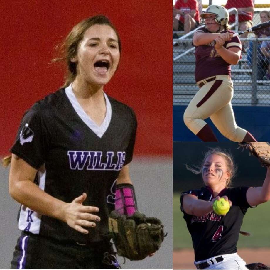 Willis' McKenzie Parker, Magnolia West's Tamryn Hamby and Magnolia's Skylar Shanahan. Photo: Conroe Courier