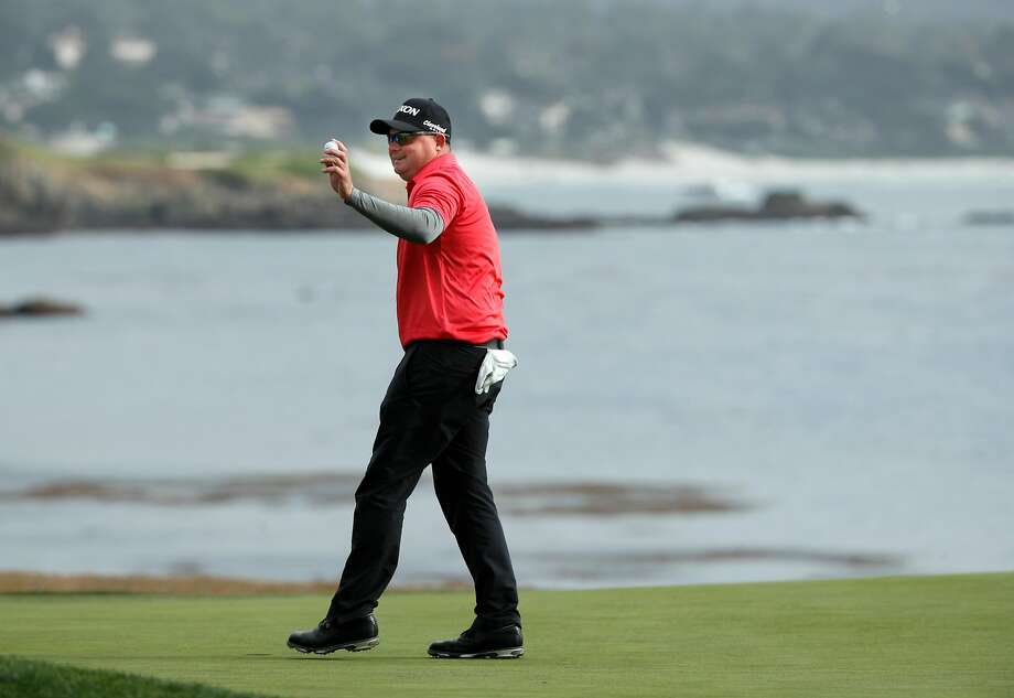 Ted Potter Jr., a relative unknown in golf circles, waves after winning at Pebble Beach for his second PGA Tour title. Photo: Michael Macor, The Chronicle