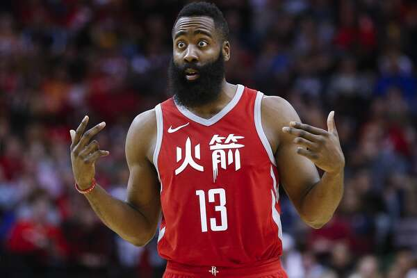 Houston Rockets guard James Harden (13) reacts during a free throw as the Houston Rockets take on the Dallas Mavericks at the Toyota Center Sunday, Feb. 11, 2018 in Houston. (Michael Ciaglo / Houston Chronicle)
