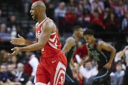 Houston Rockets guard Chris Paul (3) celebrates hitting a three-point shot as the Houston Rockets beat the Dallas Mavericks 104-97 at the Toyota Center Sunday, Feb. 11, 2018 in Houston. (Michael Ciaglo / Houston Chronicle)