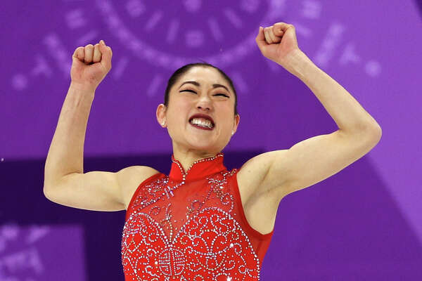 GANGNEUNG, SOUTH KOREA - FEBRUARY 12: Mirai Nagasu of the United States of America celebrates after competing in the Figure Skating Team Event Ladie's Single Free Skating on day three of the PyeongChang 2018 Winter Olympic Games at Gangneung Ice Arena on February 12, 2018 in Gangneung, South Korea.