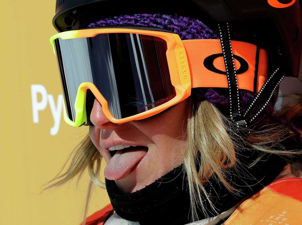 JamieAnderson, of the United States, reacts to her score during the women's slopestyle final at Phoenix Snow Park at the 2018 Winter Olympics in Pyeongchang, South Korea, Monday, Feb. 12, 2018.