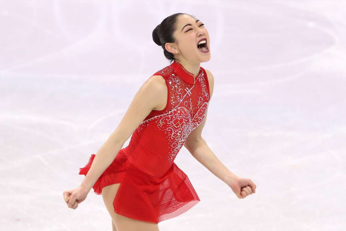 GANGNEUNG, SOUTH KOREA FEBRUARY 12, 2018: Figure skater Mirai Nagasu of the United States performs during the ladies' free skating event as part of the figure skating team event at the 2018 Winter Olympic Games, at the Gangneung Ice Arena. Valery Sharifulin/TASS (Photo by Valery Sharifulin\TASS via Getty Images)