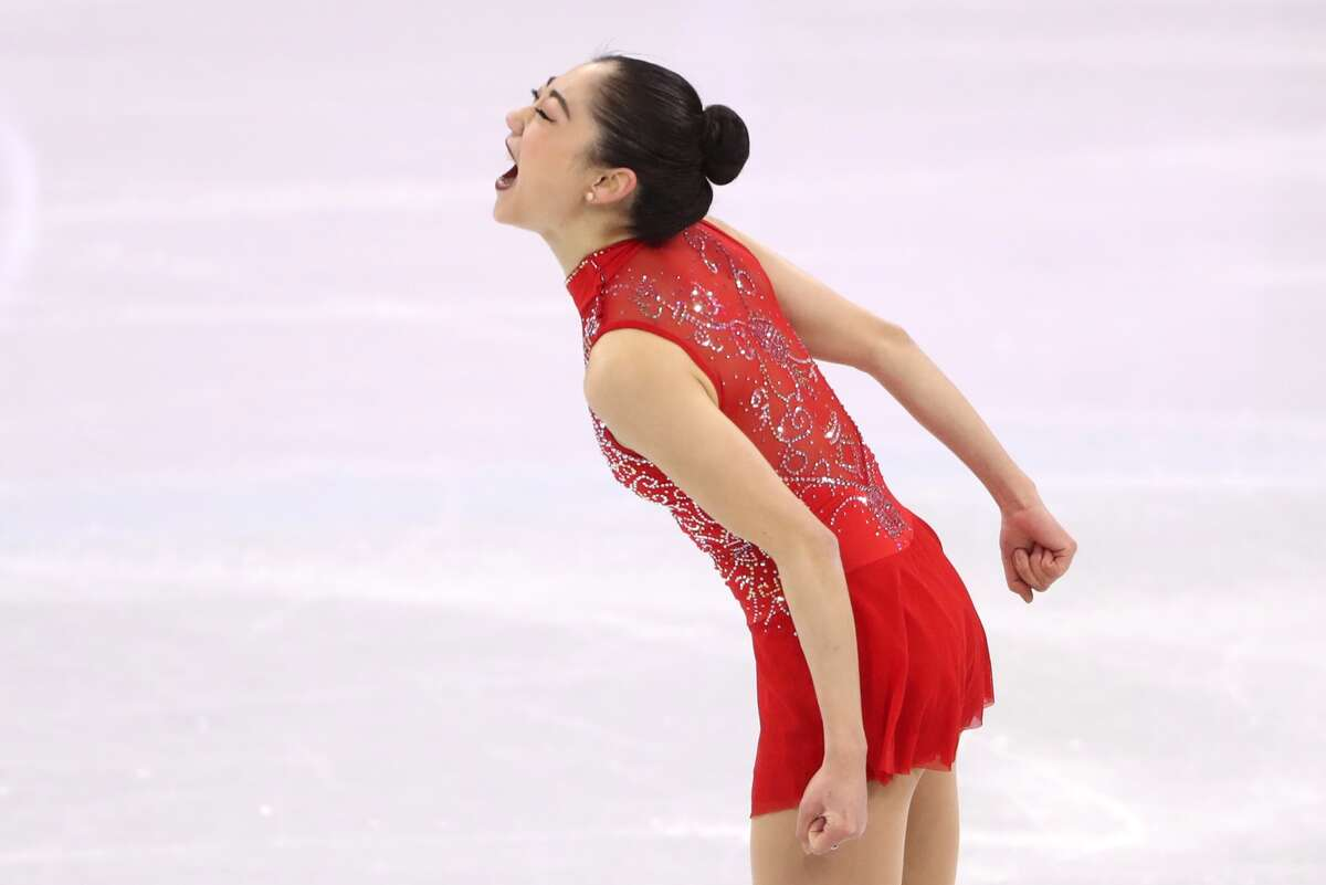 Figure skater Mirai Nagasu of the United States reacts after performing during the ladies' free skating event as part of the figure skating team event at the 2018 Winter Olympic Games, at the Gangneung Ice Arena.