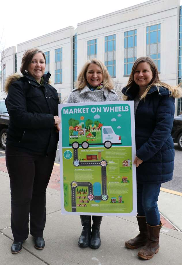 Dr. Jessica DeSpain, Goshen Market Foundation President;  Pam Farrar, Edwardsville Community Foundation Executive Director and Tara Eberlin Pohlman, Goshen Market Foundation Vice President Photo: For The Intelligencer