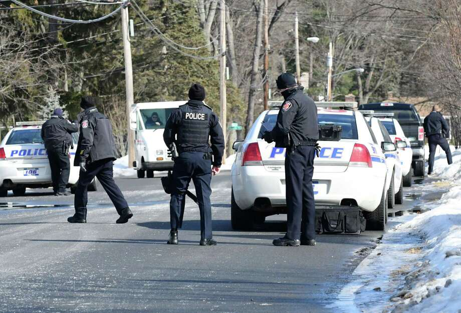Colonie Police respond to a standoff situation on Williams Park Road near Albany Shaker Road on Monday, Feb. 12, 2018, in Colonie, N.Y.  (Will Waldron/Times Union) Photo: Will Waldron, Albany Times Union