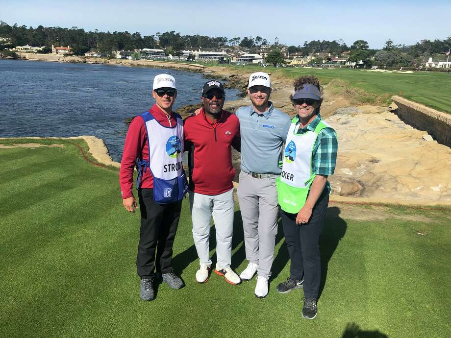 Former Port Neches-Groves and Lamar Cardinals golfer Chris Stroud shot 2-under Par 72, ending his Pebble Beach Pro-Am tournament at -6 on Sunday in California. Stroud, second from right, played in a group this weekend featuring musician Darius Rucker, second from left. (Photo: @ChrisStroudPGA)