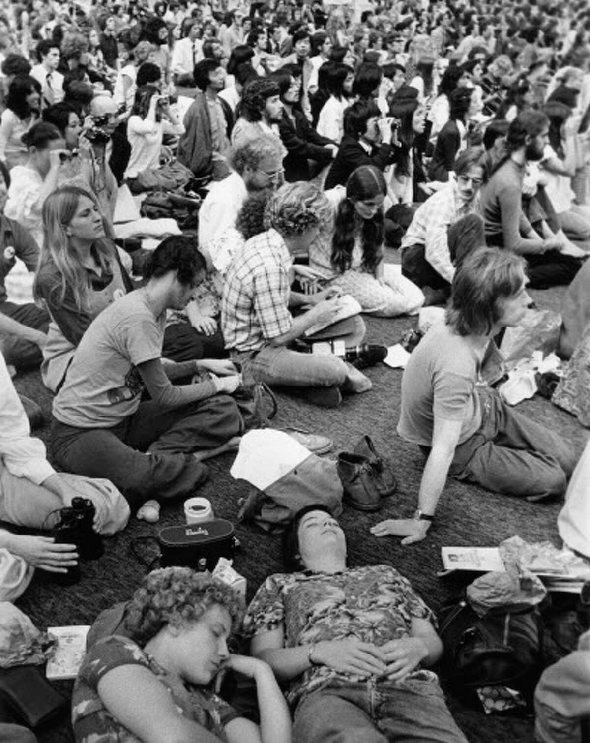 Crowd at the Astrodome gathered for Millennium '73 wait for the appearance of Guru Maharaj Ji. The three-day event sponsored by the guru's Divine Light Mission was held as the grand finale to his