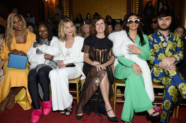 NEW YORK, NY - FEBRUARY 10:  (L-R) Laverne Cox, Whoopi Goldberg, Meg Ryan, Molly Shannon, Cardi B and Brad Walsh attend the Christian Siriano fashion show during New York Fashion Week at Grand Lodge on February 10, 2018 in New York City.  (Photo by Dimitrios Kambouris/Getty Images)