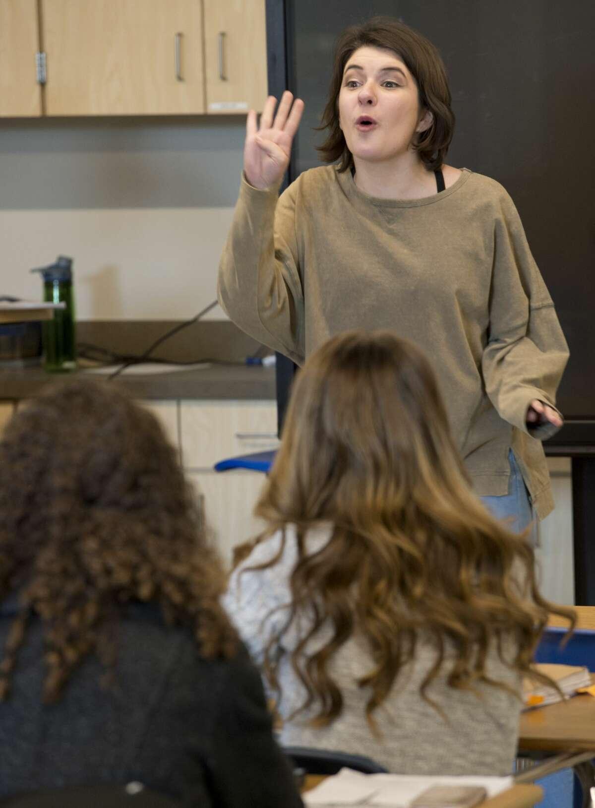Bella Spangher recites part of her Original Oratory Speech 02/12/18 during speech and debate class at Trinity School. Tim Fischer/Reporter-Telegram
