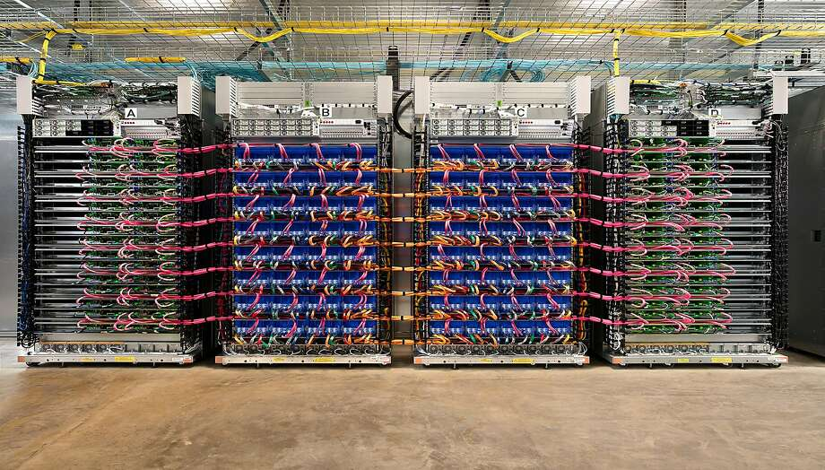 This data center houses Google's tensor processing units, designed to handle the complex processes. Photo: GOOGLE, NYT