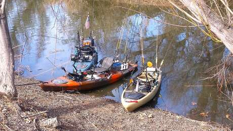 Three kayaks, rigged as ultimate fishing craft, are parked ashore the slough at Clear Lake State Park