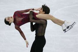 Tessa Virtue and Scott Moir of Canada compete in the Ice Dance Free Dance during the Figure Skating Team Event on day three of the PyeongChang 2018 Winter Olympic Games at Gangneung Ice Arena on February 12, 2018 in Gangneung, South Korea.