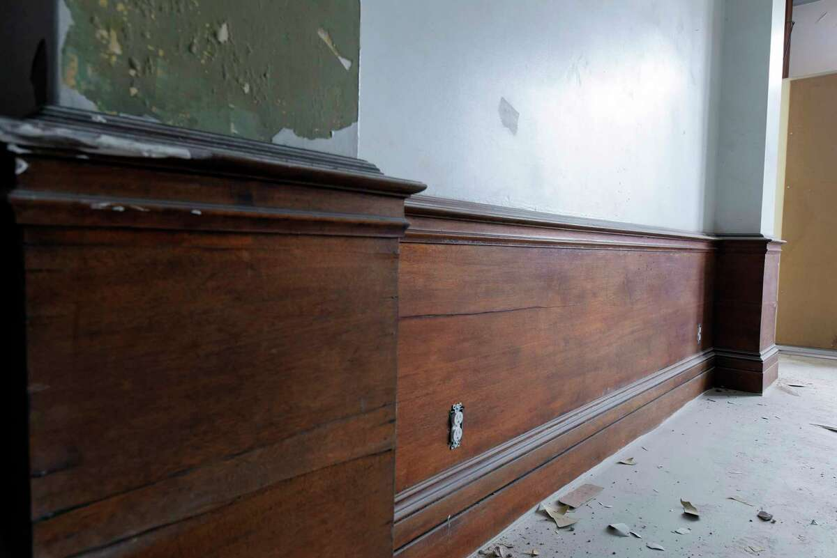 A view of some of the woodwork inside the historic section of The News apartment building on Monday, Feb. 12, 2018, in Troy, N.Y. This building is the former Troy Record newspaper building. (Paul Buckowski/Times Union)