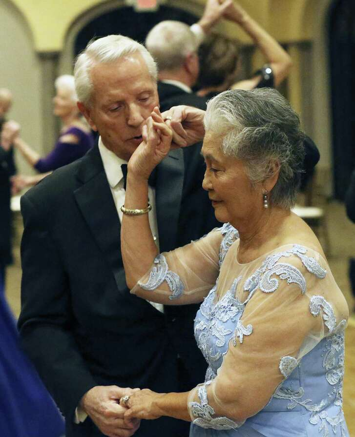 "Nora and Alfred (""Jake"") Richards, married for 55 years, waltz at The Club at Sonterra during a recent danced sponsored by the K Supper Club."