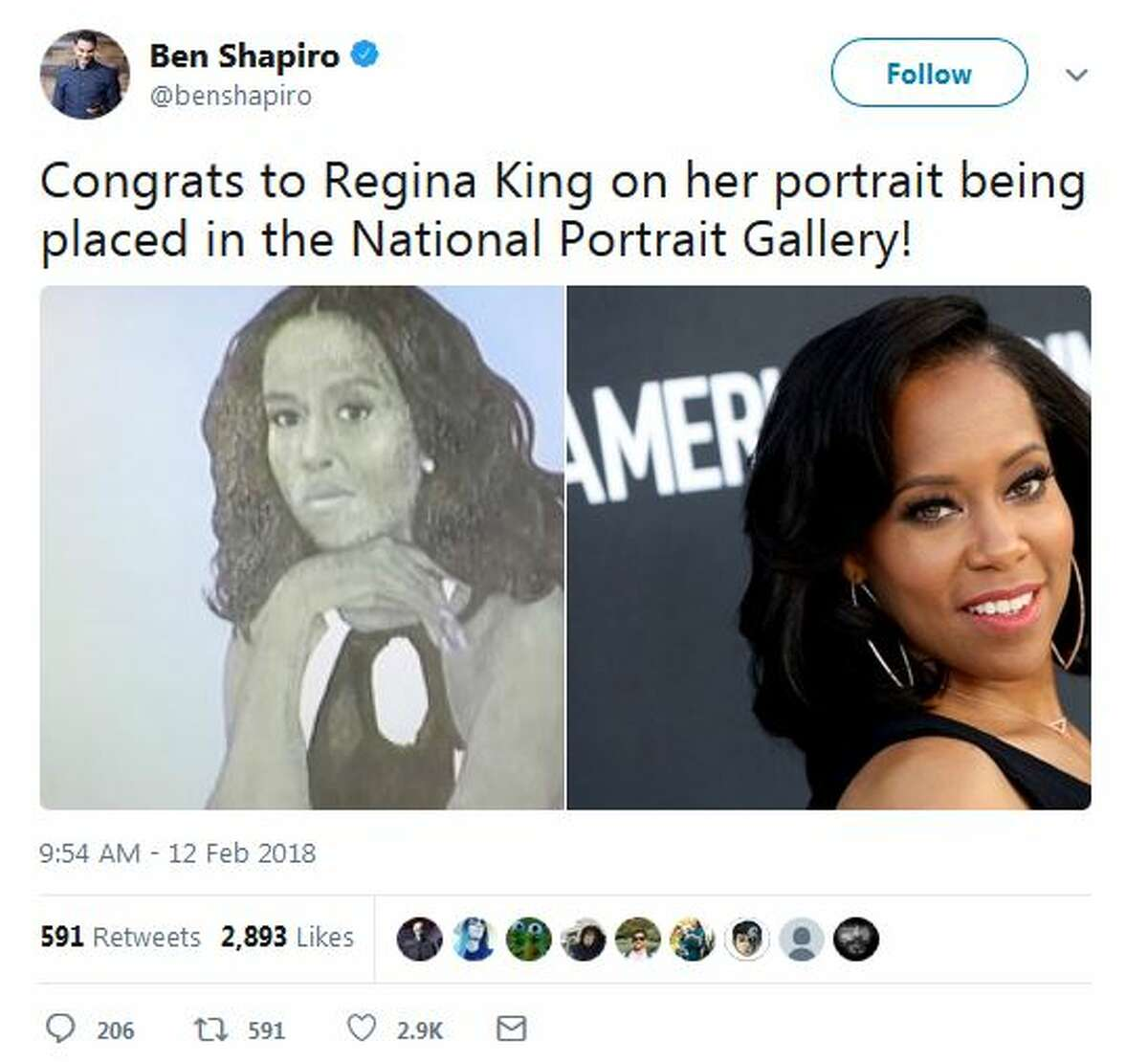 @benshapiro: Congrats to Regina King on her portrait being placed in the National Portrait Gallery!