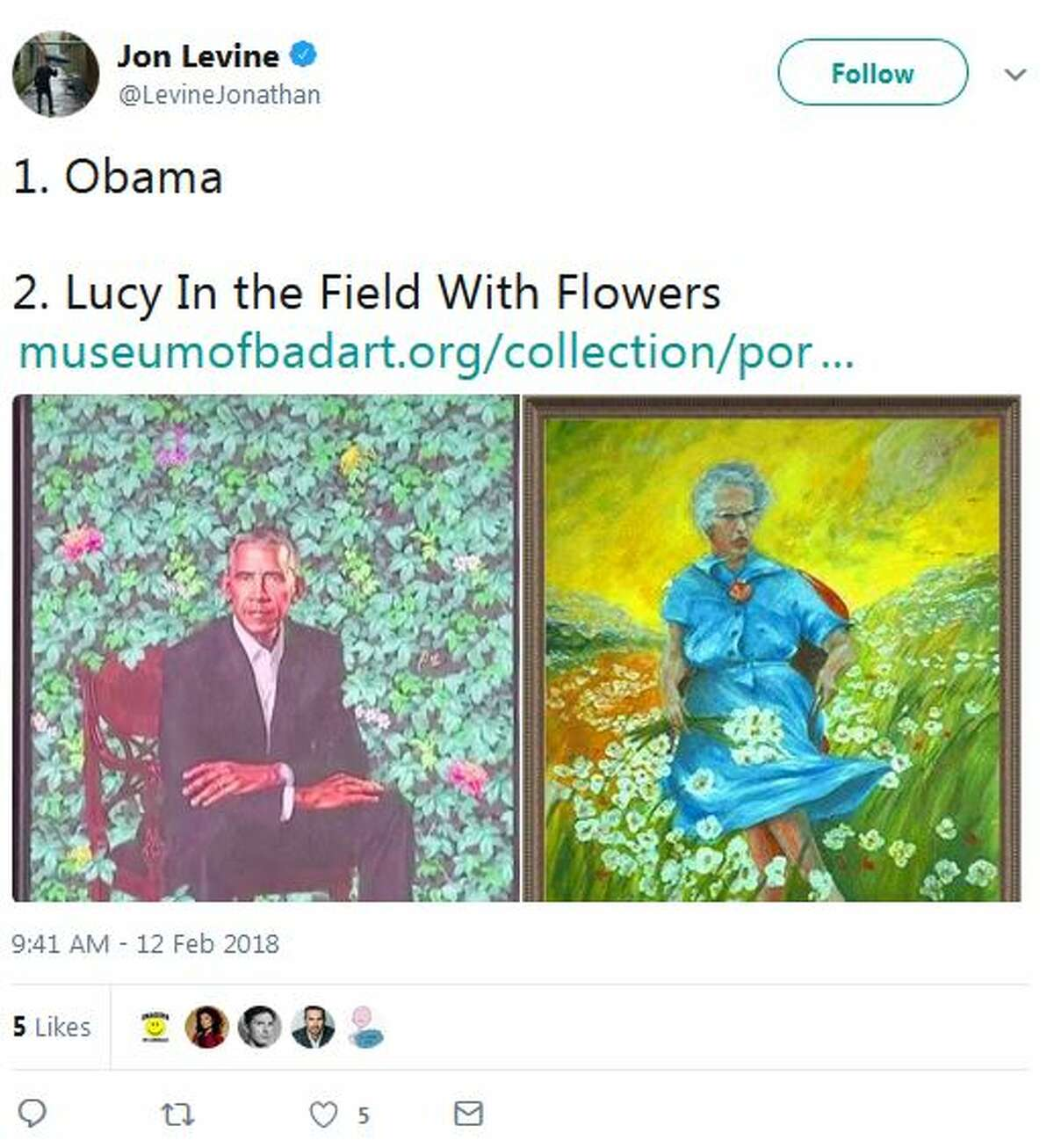 @LevineJonathan: 1. Obama 2. Lucy In the Field With Flowers