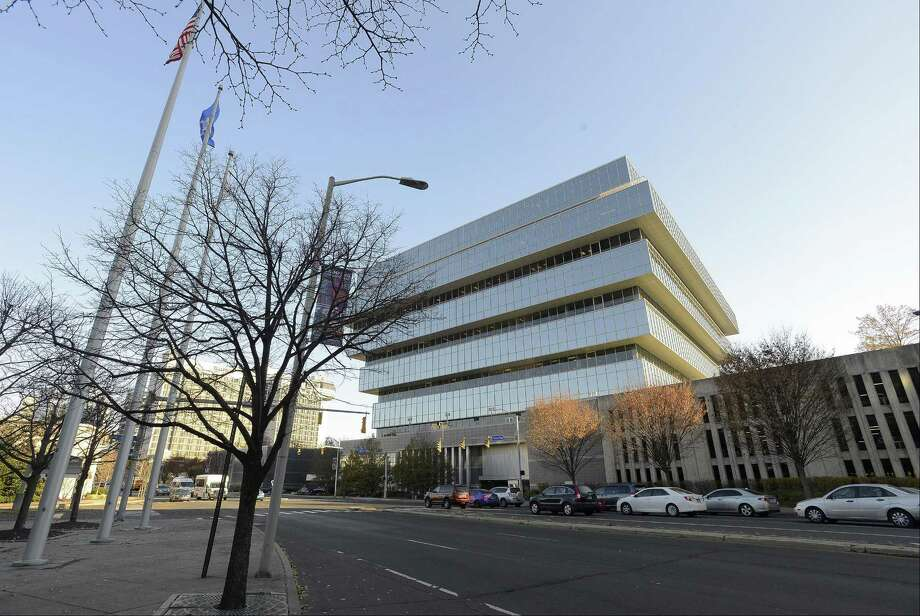 Purdue Pharma, the maker of OxyContin, is headquartered at 201 Tresser Blvd. Photo: Matthew Brown / Hearst Connecticut Media / Stamford Advocate