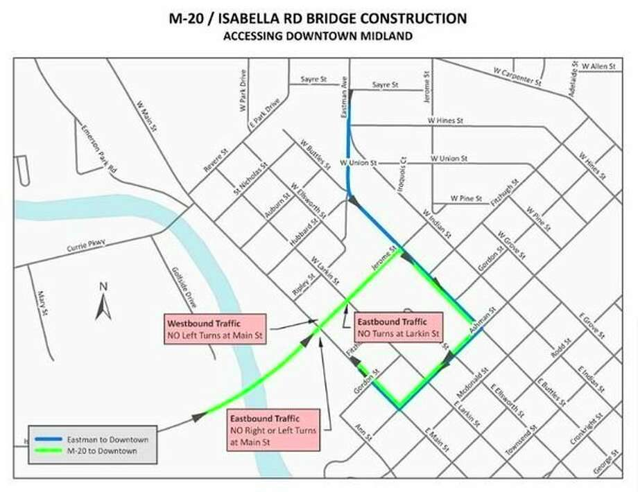 Traffic across the bridge is scheduled to be restricted to one lane in each direction from Currie Parkway to Buttles Street and will be shifted to utilize only the eastbound side of the bridge. Left and right turns from Jerome Street/M20 onto Larkin and Main Streets will be restricted. A signed detour route will be provided for motorists wishing to access downtown.