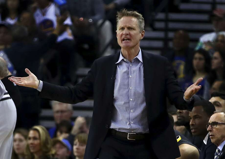 Golden State Warriors coach Steve Kerr gestures on the sideline during the first half of an NBA basketball game against the San Antonio Spurs, Saturday, Feb. 10, 2018, in Oakland, Calif. (AP Photo/Ben Margot) Photo: Ben Margot, Associated Press