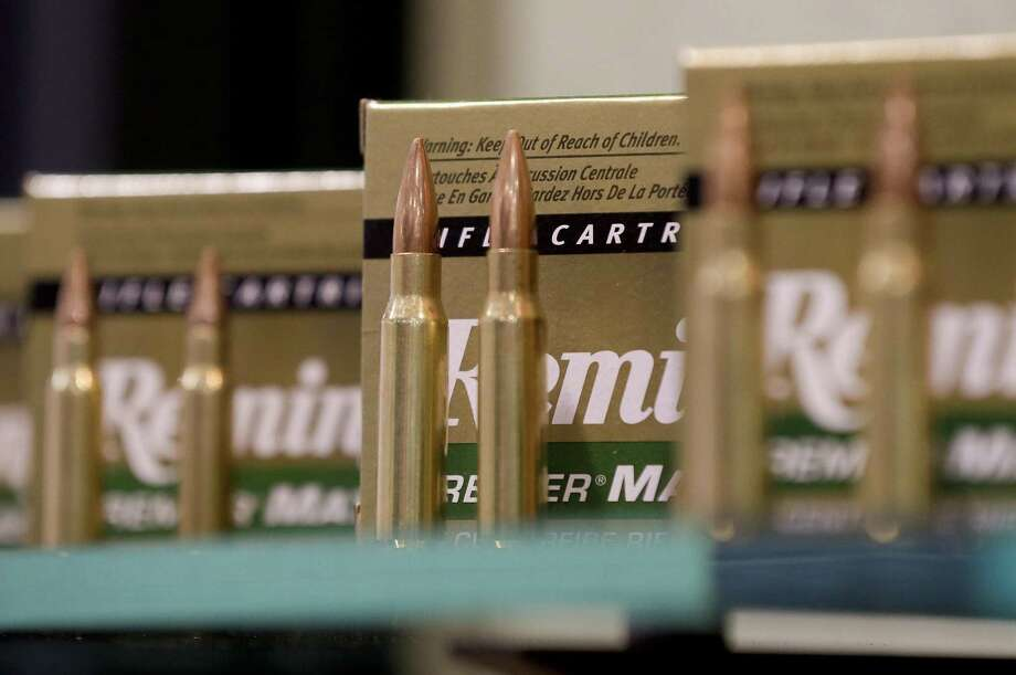 In this Jan. 15, 2013, photo, Remington rifle cartridges are displayed at the 35th annual SHOT Show in Las Vegas. Remington, the gunmaker beset by falling sales and lawsuits tied to the Sandy Hook Elementary School massacre, said Monday, Feb. 12, 2018, that it has reached a financing deal that would allow it to continue operating as it files for Chapter 11 bankruptcy protection. Photo: Julie Jacobson /Associated Press / Copyright 2018 The Associated Press. All rights reserved.