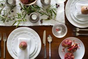 An unfinished edge to table linens works well for casual entertaining.