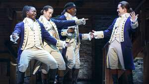 """A scene from the touring production of """"Hamilton."""""""