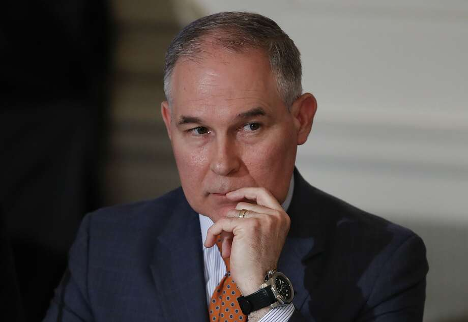 Environmental Protection Agency Administrator Scott Pruitt attends a meeting with state and local officials and President Donald Trump about infrastructure in the State Dining Room of the White House in Washington, Monday, Feb. 12, 2018. The White House is seeking to cut more than $2.5 billion from the annual budget of the Environmental Protection Agency - an overall reduction of more than 23 percent. Photo: Carolyn Kaster, Associated Press