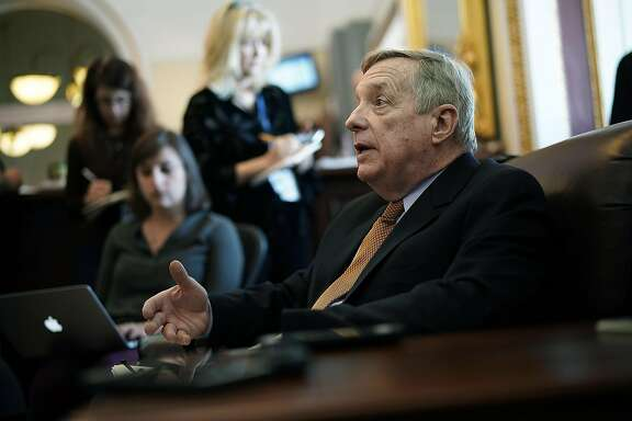 WASHINGTON, DC - FEBRUARY 12:  U.S. Senate Minority Whip Sen. Richard Durbin (D-IL) speaks to members of the media on immigration during a pen and pad at the Capitol February 12, 2018 in Washington, DC. The Senate will take a procedural vote later today to begin debate on immigration and border security.  (Photo by Alex Wong/Getty Images)