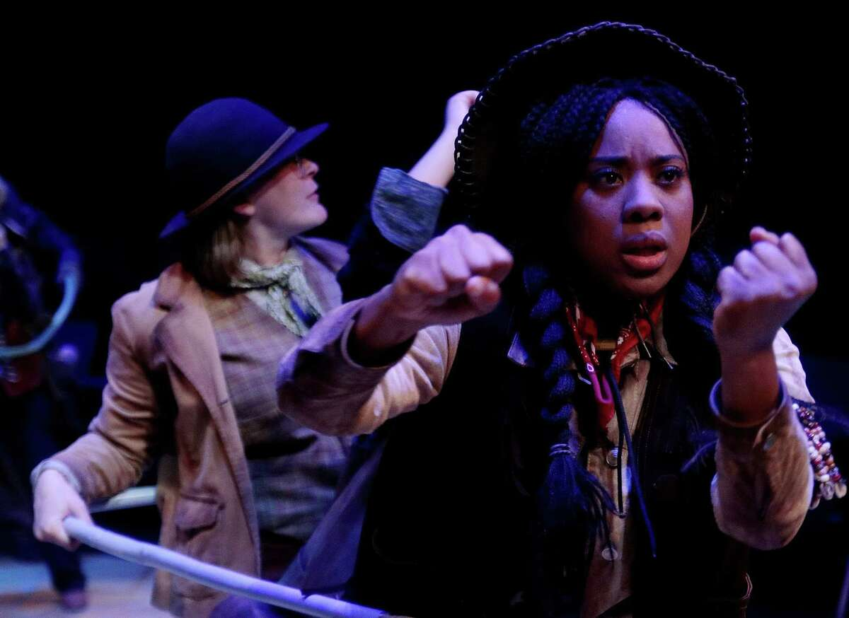 """Candice D'Meza, front, in """"Men on Boats"""" at Main Street Theater. Behind, actor Shannon Emerick."""