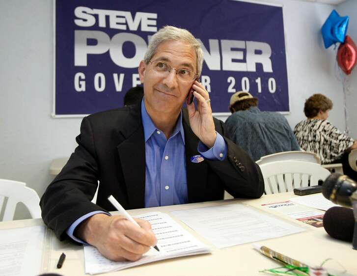 Steve Poizner, candidate for the Republican nomination for governor in the California primary, talks to a voter at a campaign phone bank in Torrance, Calif., on election day Tuesday, June 8, 2010.  (AP Photo/Reed Saxon)