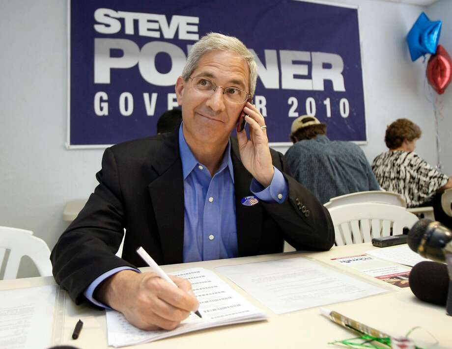 Steve Poizner, candidate for the Republican nomination for governor in the California primary, talks to a voter at a campaign phone bank in Torrance, Calif., on election day Tuesday, June 8, 2010.  (AP Photo/Reed Saxon) Photo: Reed Saxon, AP