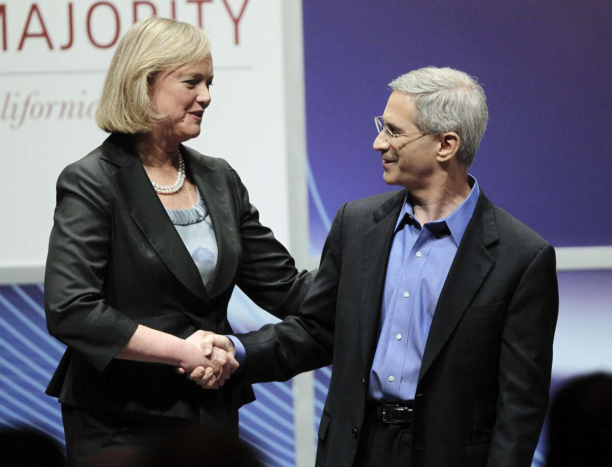 Former eBay executive Meg Whitman. left, and California Insurance Commissioner Steve Poizner shake hands after their debate for the California Republican gubernatorial primary Monday in Costa Mesa.