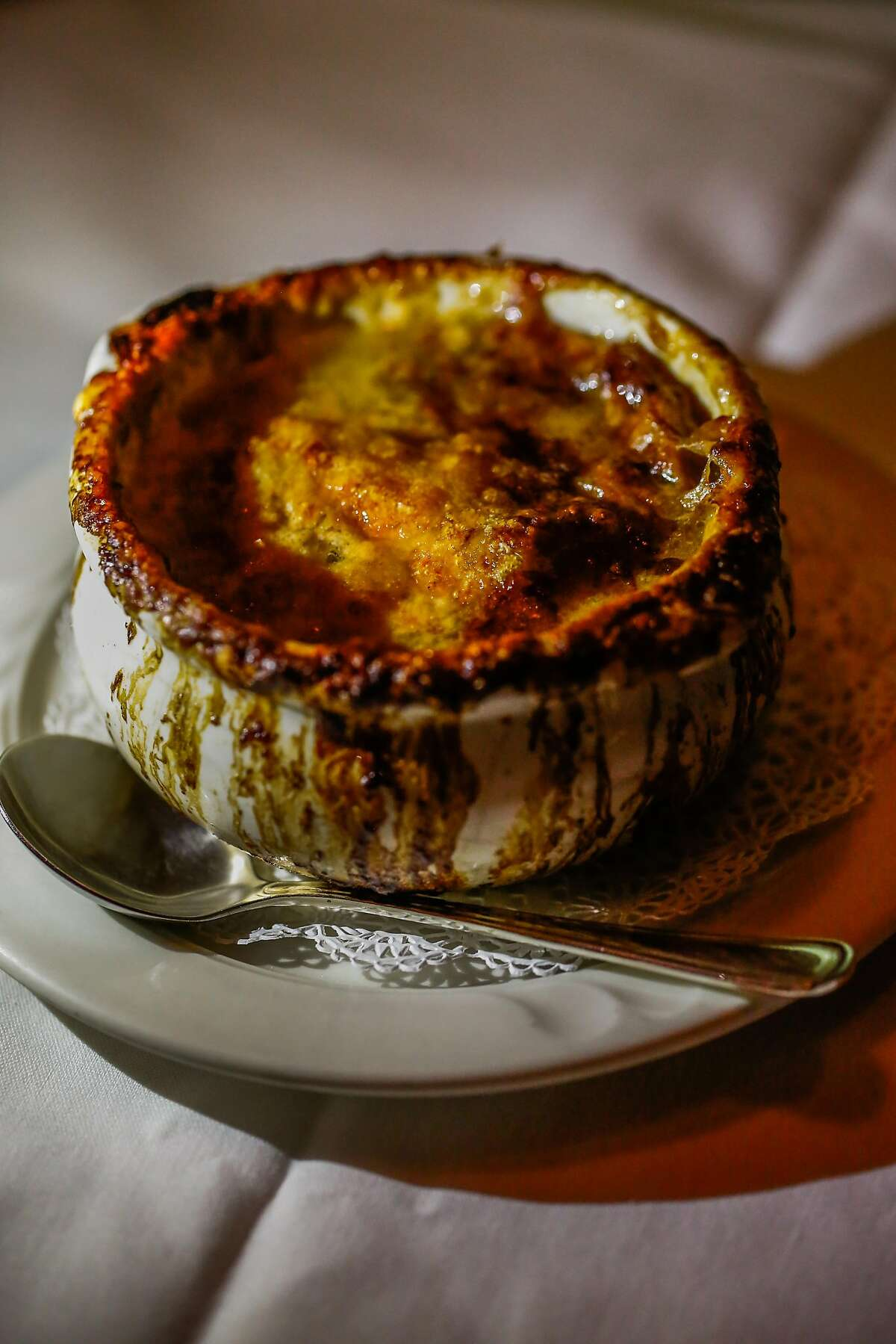 The french onion soup at Cafe Jacqueline in San Francisco, California, on Wednesday, Jan. 31, 2018.