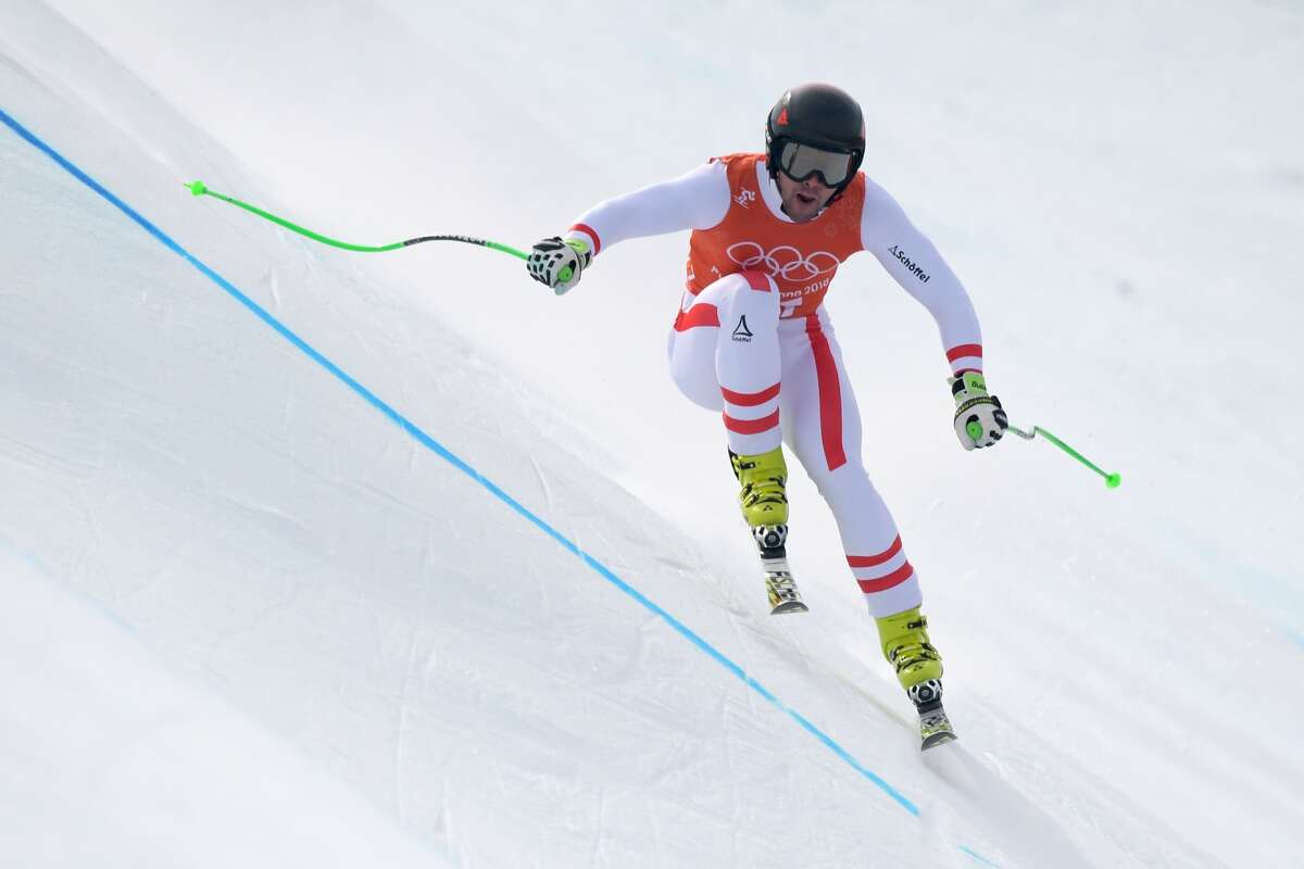 Austria's Vincent Kriechmayr takes part in the Men's Downhill 3rd training at the Jeongseon Alpine Center during the Pyeongchang 2018 Winter Olympic Games in Pyeongchang on February 10, 2018.