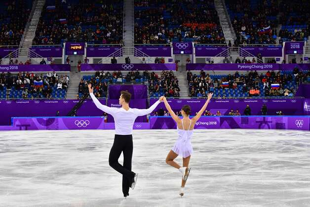 Russia's Natalia Zabiiako and Russia's Alexander Enbert compete in the figure skating team event pair skating free skating during the Pyeongchang 2018 Winter Olympic Games at the Gangneung Ice Arena in Gangneung on February 11, 2018. Photo: MLADEN ANTONOV/AFP/Getty Images