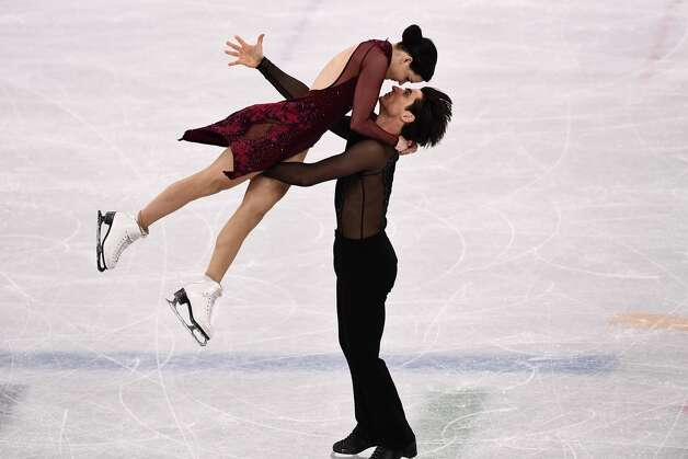 Canada's Tessa Virtue and Canada's Scott Moir compete in the figure skating team event ice dance free dance during the Pyeongchang 2018 Winter Olympic Games at the Gangneung Ice Arena in Gangneung on February 12, 2018. Photo: ARIS MESSINIS/AFP/Getty Images