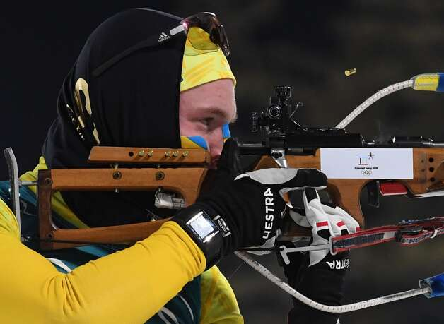 Sweden's Sebastian Samuelsson competes at the shooting range to win silver in the men's 12,5km pursuit biathlon event during the Pyeongchang 2018 Winter Olympic Games on February 12, 2018, in Pyeongchang. Photo: KIRILL KUDRYAVTSEV/AFP/Getty Images