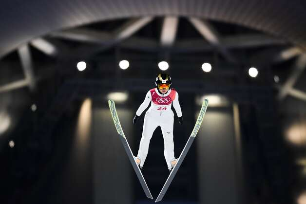 Japan's Yuka Seto competes in the women's normal hill individual ski jumping event during the Pyeongchang 2018 Winter Olympic Games on February 12, 2018, in Pyeongchang. Photo: JONATHAN NACKSTRAND/AFP/Getty Images