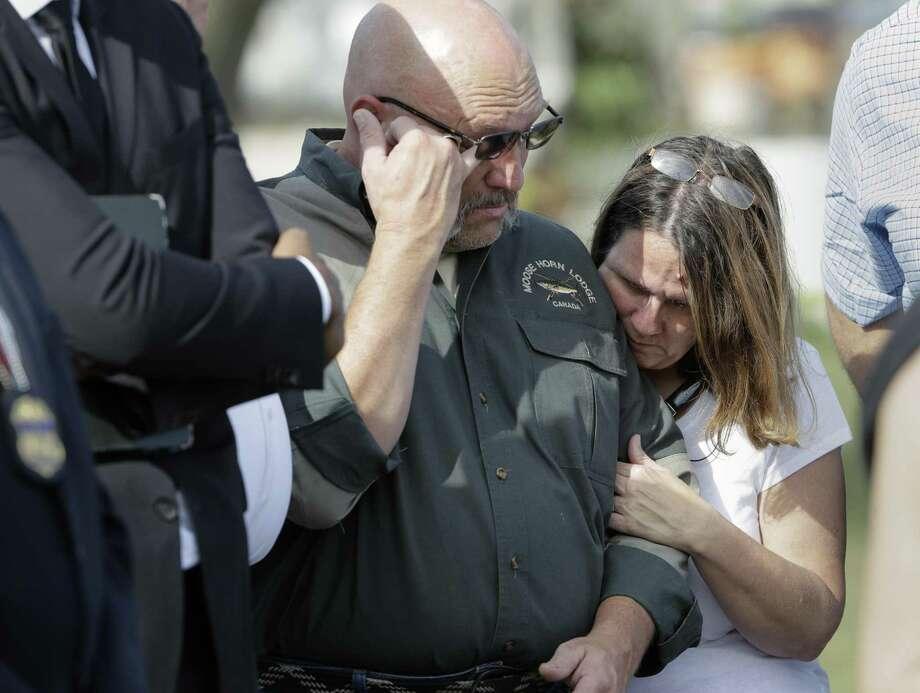 Pastor Frank Pomeroy and his wife Sherri join a news conference near the First Baptist Church of Sutherland Springs on Nov. 6, the day after a man opened fire inside the church, killing and wounding many. The Pomeroy's daugher, Annabelle, 14, was killed in the shooting. On May 3, Pomeroy will help lead the National Day of Prayer from the U.S. Capitol. (AP Photo/Eric Gay) Photo: Eric Gay /Associated Press / Copyright 2017 The Associated Press. All rights reserved.